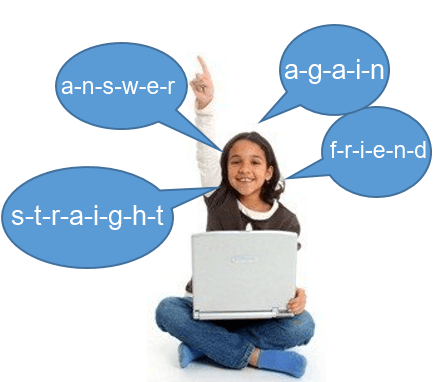 Third grade girl with laptop, raising her hand, and spelling words aloud