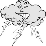 cartoon cloud with lightning bolts