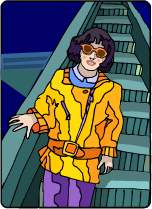 Woman in a yellow jacket coming down an escalator