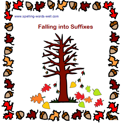 Fall Into Suffixes Bulletin Board idea from www.spelling-words-well.com