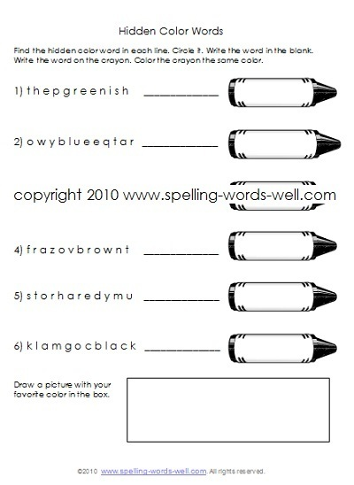 Hidden Color Words first grade homework worksheet
