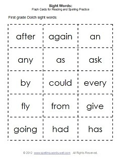 page of flash cards