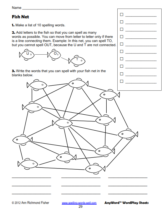 Fish Net - fifth grade worksheet