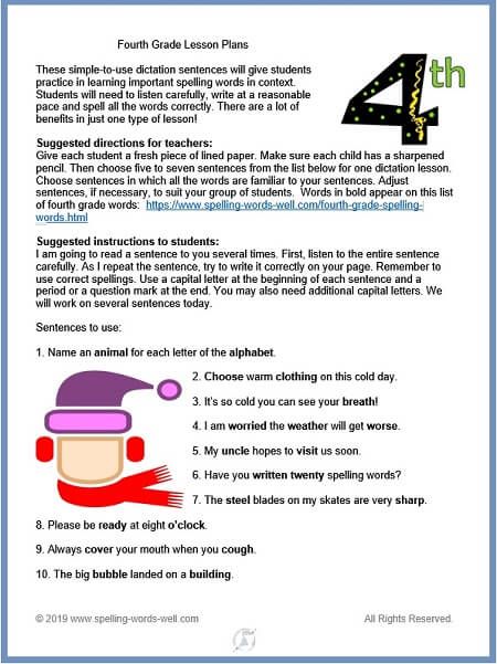 Fourth grade lesson plans for spelling dictation, from www.spelling-words-well.com