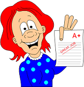 red-headed cartoon girl holding up a worksheet marked A+