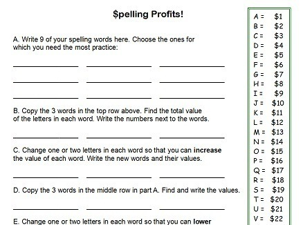Printables Spelling Worksheets For 6th Grade fourth grade worksheets for fun spelling practice