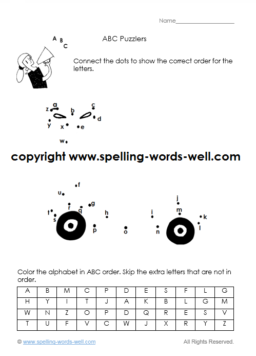 free alphabet worksheet - dot-to-dot