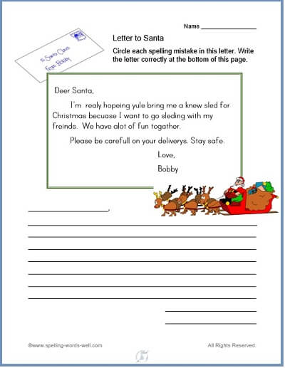 Free Christmas Worksheets for Spelling Practice