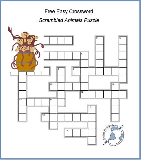 Free easy crossword with scrambled animal names from #spellingwordswell
