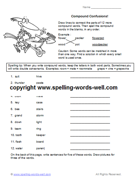 free fourth grade worksheets - compound words