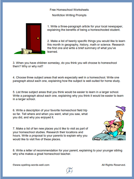 One of our free homeschool worksheets of non-fiction writing prompts