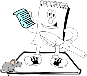 animated notepad with large pen, being watched by a mouse