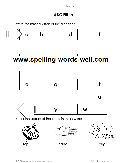 Free Printable Kindergarten Worksheets with the ABCs – Kindergarten Fill in the Blank Worksheets