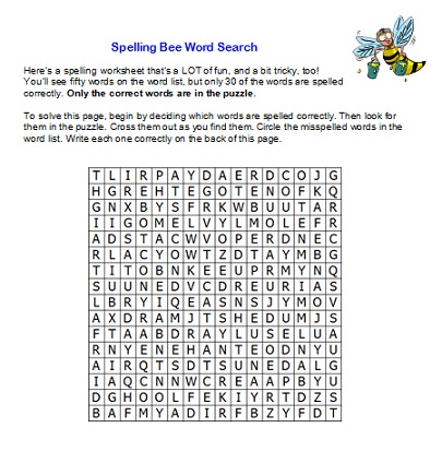 Spelling Bee Word Search - Students must locate only the correct #spellingwords from the word list #spellingwordswell