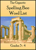 Gigantic Spelling Bee Word List for grades 3-4