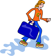 Girl with a big suitcase, from our fiction writing prompts