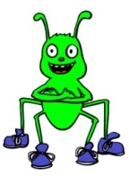 A green bug with blue shoes, from the second grade lesson plans at www.spelling-words-well.com