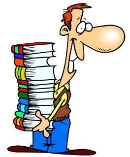 guy carrying big stack of books