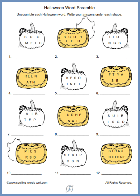 Here's a terrific Halloween Word Scramble for all ages. Find the printable page at www.spelling-words-well.com.