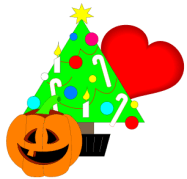 Holiday graphic with jack-o-lantern, Christmas tree and valentine