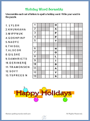 Holiday Word Scramble