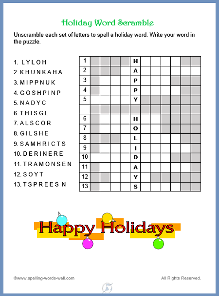 Fun holiday word scramble from www.spelling-words-well.com