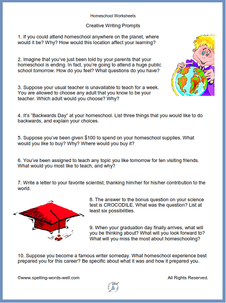 Homeschool worksheets: Creative Writing Prompts especially for the homeschool student