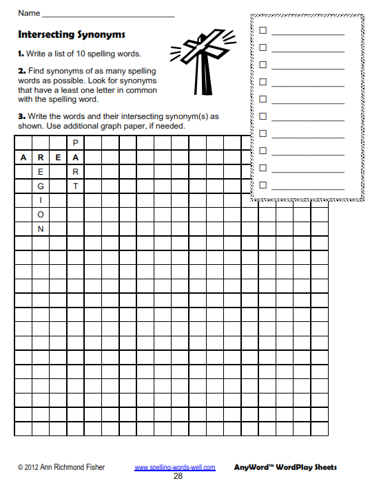 Intersecting Synonyms worksheet