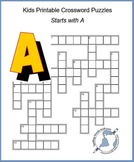 image regarding Easy Crossword Puzzles Printable identified as Exciting Little ones Printable Crossword Puzzles