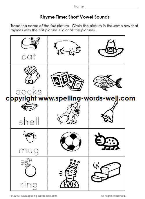 kindergarten phonics worksheet - short vowel sounds