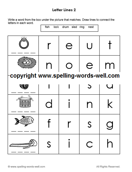 printable kindergarten worksheet - Letter Lines 2