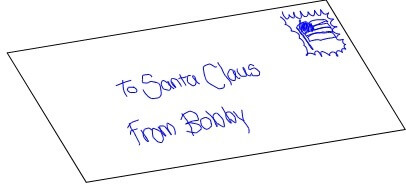 envelope addressed to Santa Claus from Bobby