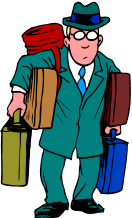 Man wearing glasses, laden with lots of luggage, from our Travel Teaser spelling and logic puzzler