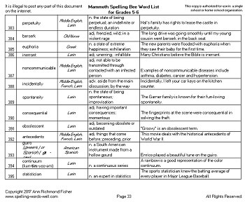 Sample page of Mammoth Spelling Bee Word List