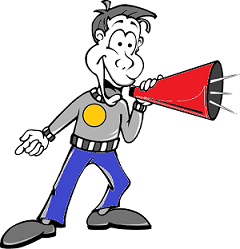 man speaking into a large red megaphone