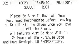 receipt with misspelled words