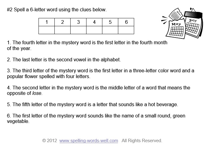 Spelling Brain Teasers for Kids - Mystery Words