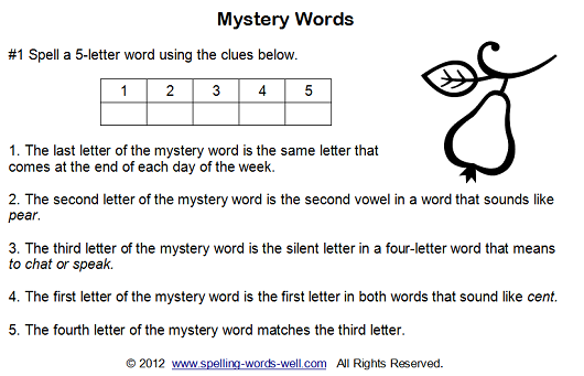also enjoy our Mystery Words puzzlers.They are printable worksheets ...