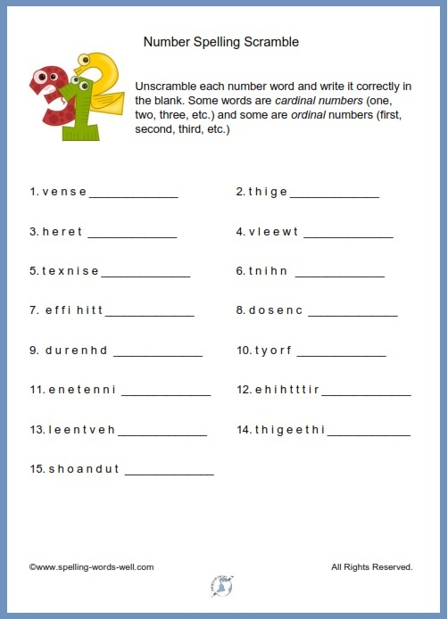 Number Spelling Scramble printable page from www.spelling-words-well.com