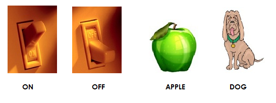 Sight Words and Images for ON, OFF, APPLE and DOG