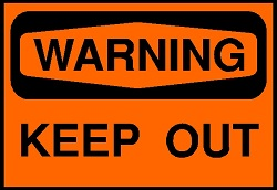 orange KEEP OUT sign
