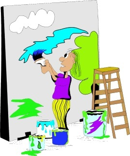 Student, ladder, buckets of paint and a huge outdoor easel