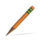 sharpened pencil, to practice spelling words