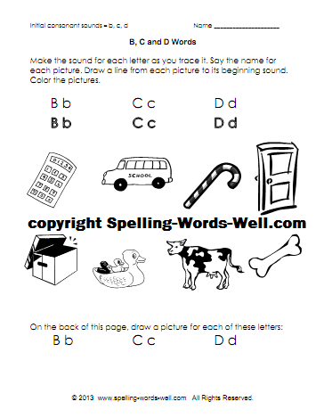 phonics printable - BCD words