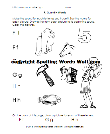phonics printable - FGH words