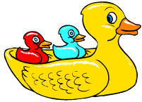 big yellow duck with two small ducks on its back