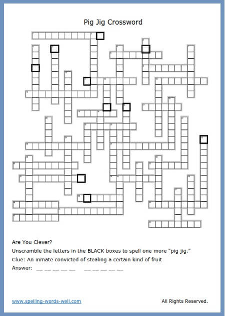 A Crossword Puzzle Free For Your Home Or Classroom