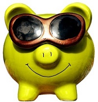 green piggy bank with sunglasses