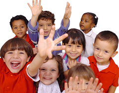 group of happy preschool students, raising their hands