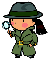 young girl detective with big magnifying glass